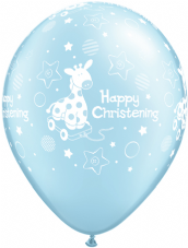 Happy Christening Blue Balloons 6 Pack